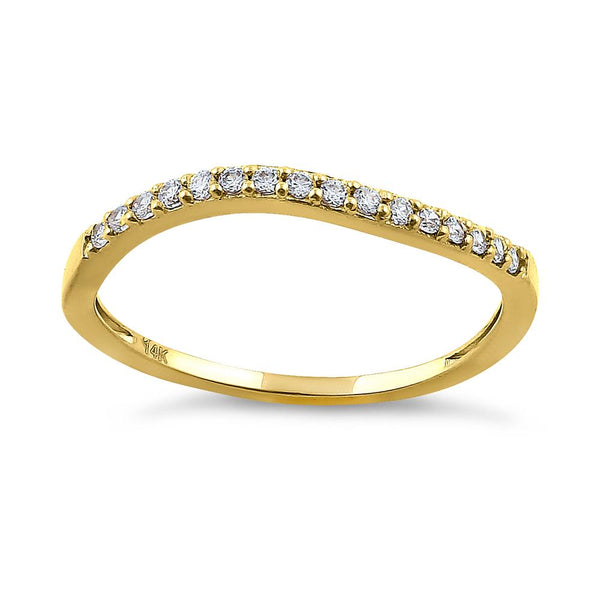 Solid 14K Yellow Gold Curve 0.20 ct. Diamond Ring