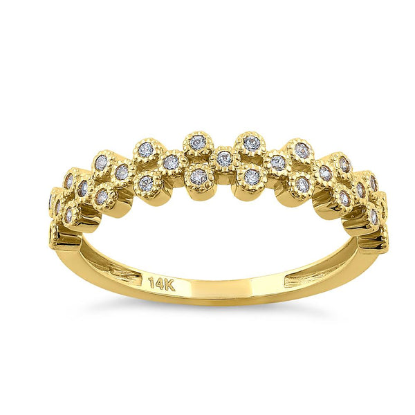 Solid 14K Yellow Gold Cluster Bubble 0.23 ct. Diamond Ring