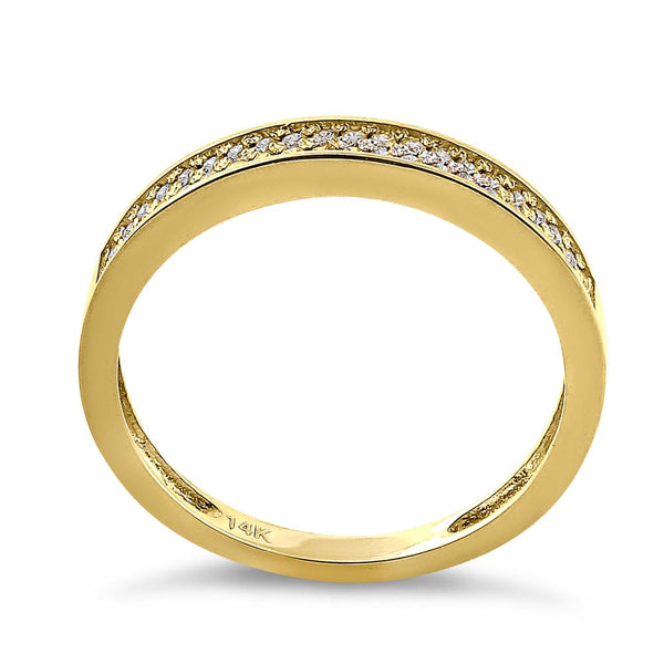 Solid 14K Yellow Gold Pave 0.24 ct. Diamond Ring