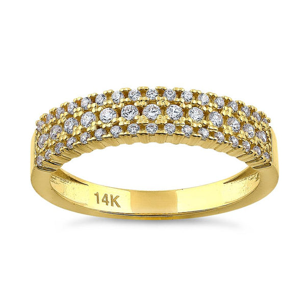 Solid 14K Yellow Gold Cluster 0.39 ct. Diamond Ring