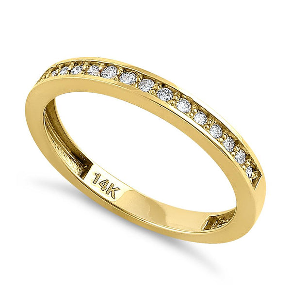 Solid 14K Yellow Gold Half Eternity Diamond Ring