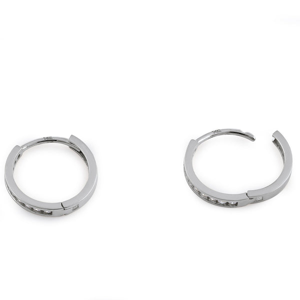 Solid 14K White Gold Diamond Small Hoop 0.24 ct. Diamond Earrings