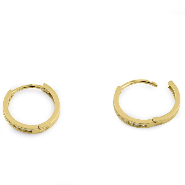 Solid 14K Yellow Gold Small Hoop 0.24 ct. Diamond Earrings