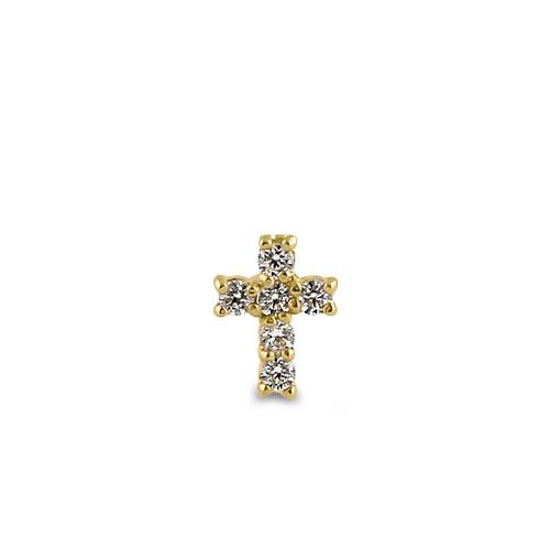 Solid 14K Yellow Gold Cross CZ Nose Stud