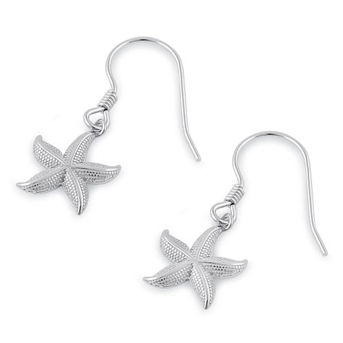 Sterling Silver Starfish Hook Earrings