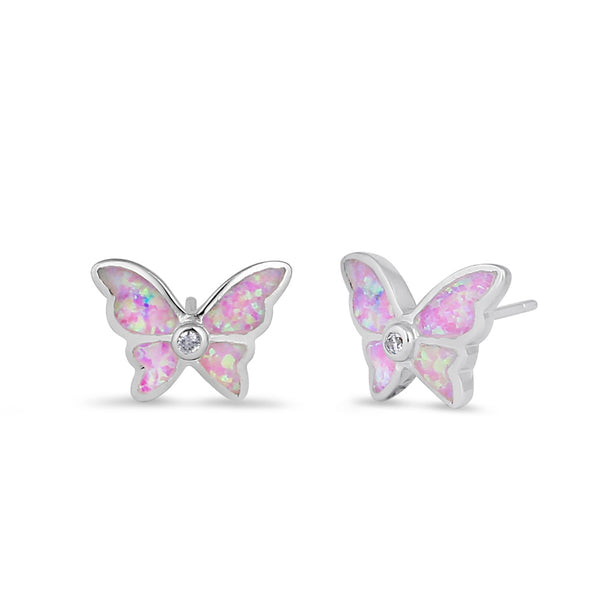 Sterling Silver Pink Lab Opal Butterfly CZ Earrings
