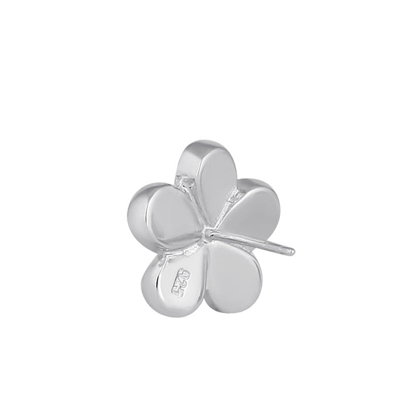 Sterling Silver Flower Green Lab Opal Stud Earrings