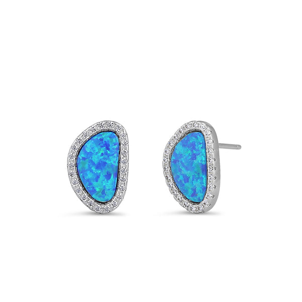 Sterling Silver Blue Lab Opal & Clear CZ Offset Stud Earrings