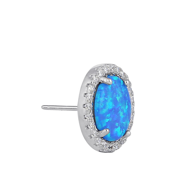 Sterling Silver Blue Lab Opal & Clear CZ Oval Stud Earrings