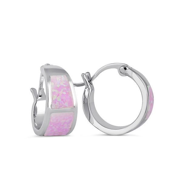 Sterling Silver Wide Pink Lab Opal Loop Earrings