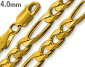14K Gold Plated Sterling Silver Figaro Chain 4.0MM