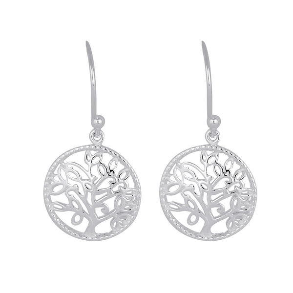 Sterling Silver Dangling Tree of Life Earrings