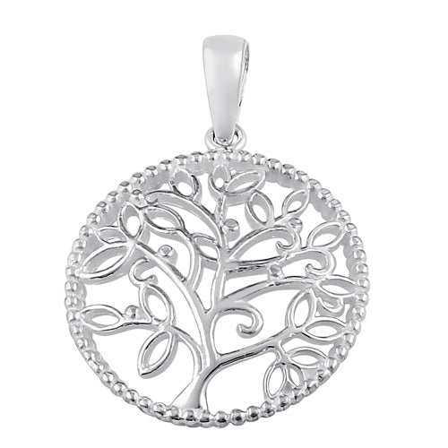 Sterling Silver Circle Tree of Life Pendant