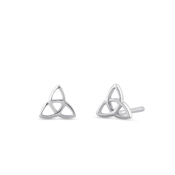 Sterling Silver Triquetra Stud Earrings
