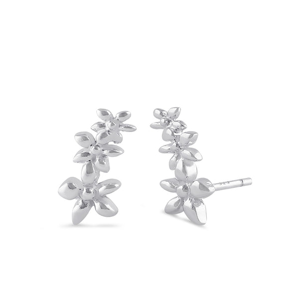 Sterling Silver Plumeria Climber Earrings