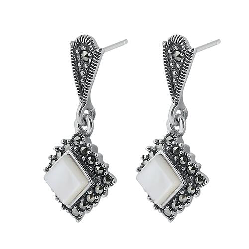 Sterling Silver Square Drop Mother of Pearl Marcasite Earrings