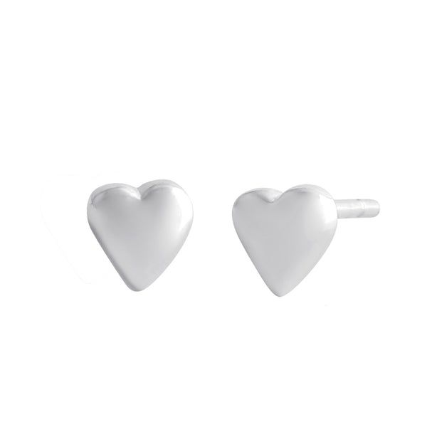 Sterling Silver Dainty Heart Puff Stud Earrings