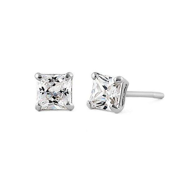 .36 ct Solid 14K White Gold 3mm Princess Cut Clear CZ Earrings