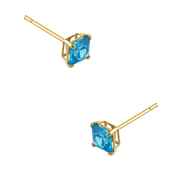 .36 ct Solid 14K Yellow Gold 3mm Princess Cut Blue Topaz CZ Earrings