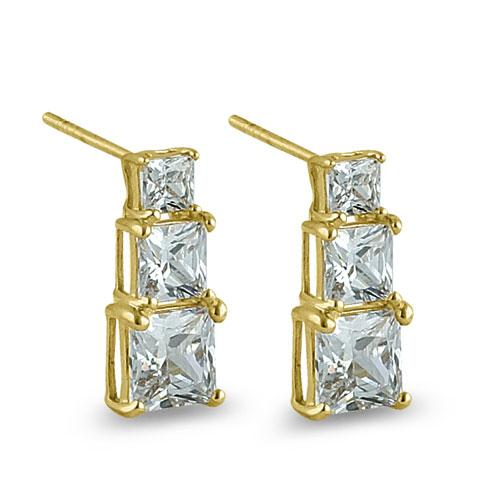 Solid 14K Yellow Gold Triple Princess CZ Earrings