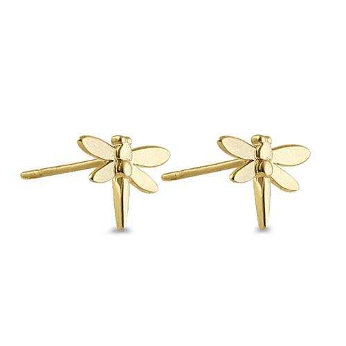 Solid 14K Yellow Gold Dragonfly Earrings