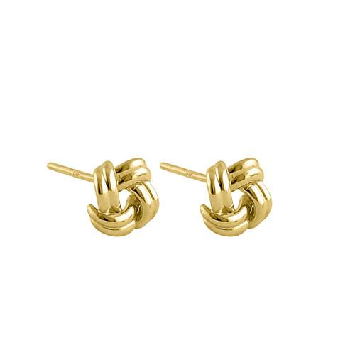 Solid 14K Yellow Gold Double Love Knot Earrings