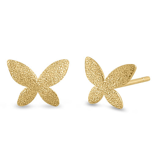Solid 14K Yellow Gold Stardust Butterfly Earrings