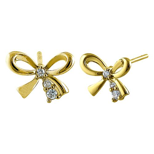 Solid 14K Yellow Gold Bow CZ Earrings