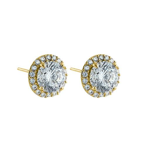 Solid 14K Yellow Gold Elegant Halo CZ Earrings