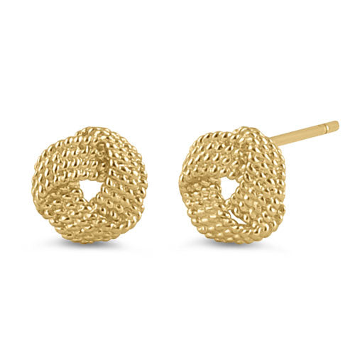 Solid 14K Yellow Gold Beaded Love Knot Earrings