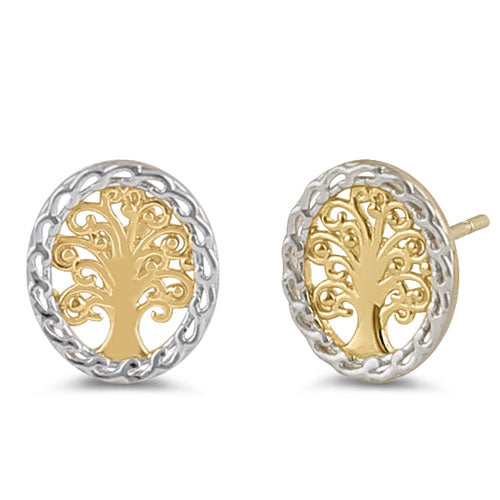 Solid 14K Yellow Gold Tree of Life Earrings