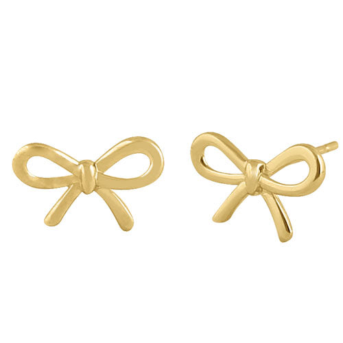 Solid 14K Yellow Gold Bow Earrings