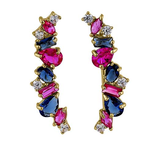 Solid 14K Yellow Gold Stone Medley Blue Sapphire, Ruby, & Clear CZ Earrings
