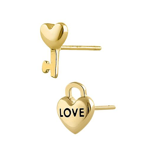 Solid 14K Yellow Gold Key To My Heart Earrings