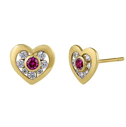 Solid 14K Yellow Gold Heart Ruby & Clear Round CZ Earrings