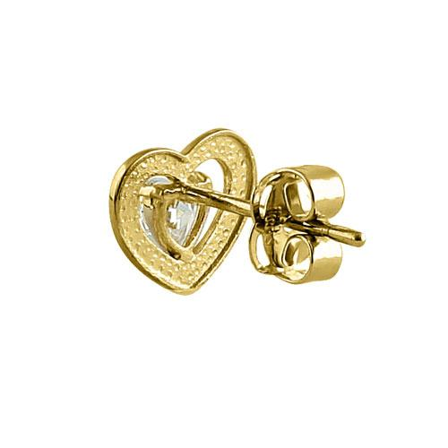Solid 14K Yellow Gold Double Heart CZ Earrings