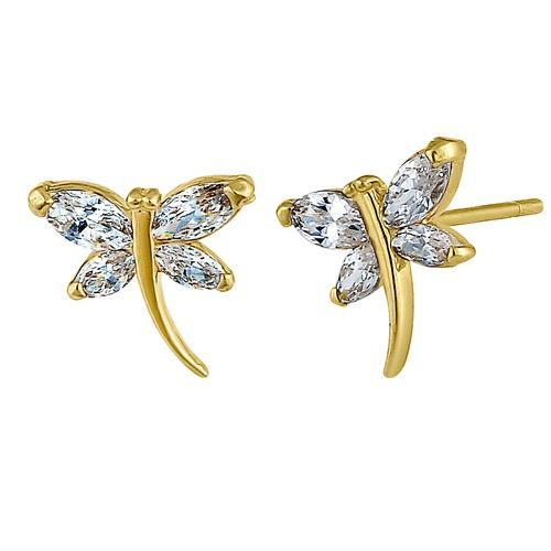Solid 14K Yellow Gold Curved Dragonfly Clear Marquise CZ Earrings