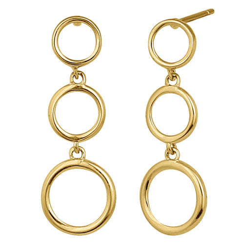 Solid 14K Yellow Gold Dangle Circle Earrings