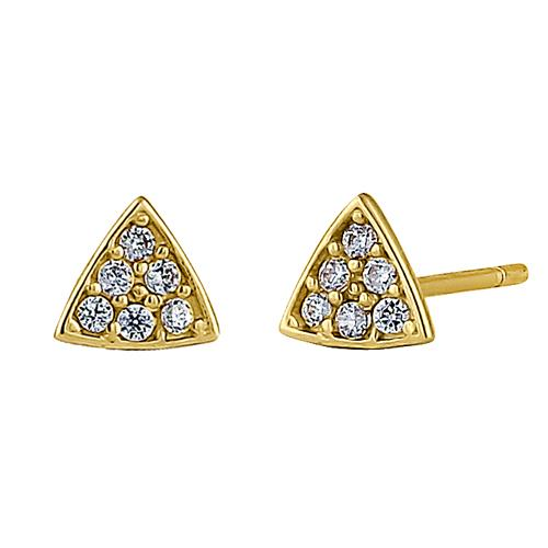 Solid 14K Yellow Gold Triangle Clear Round CZ Earrrings