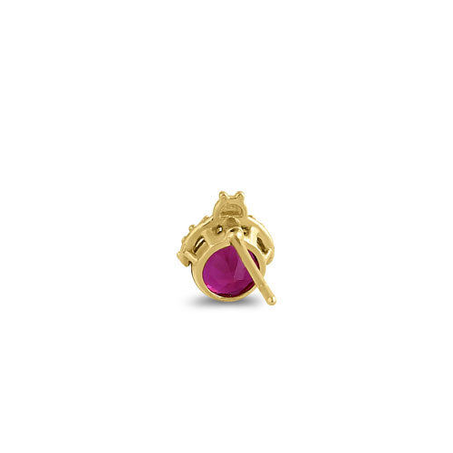 Solid 14K Yellow Gold Ladybug Ruby CZ Earrings