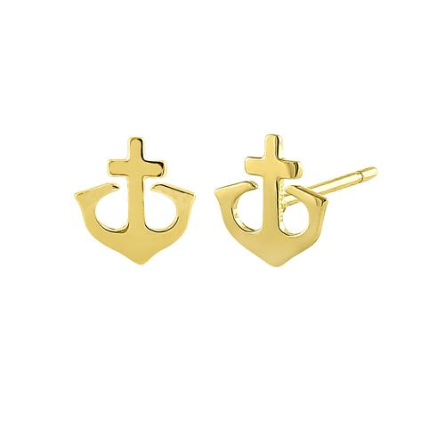 Solid 14K Yellow Gold Anchor Earrings