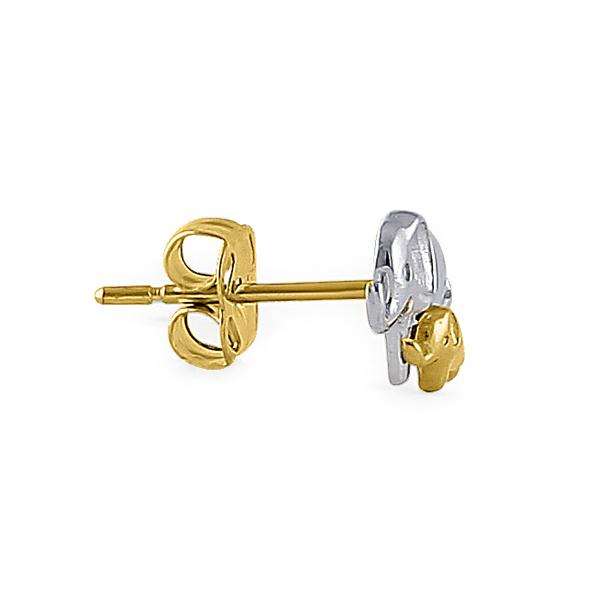 Solid 14K Yellow Gold & White Gold Mom & Baby Elephant Earrings