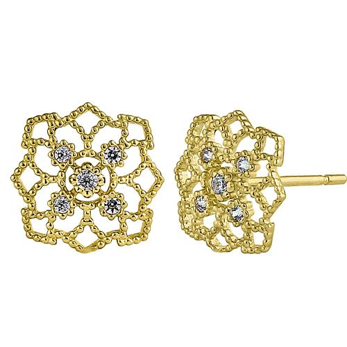 Solid 14K Yellow Gold Woven Web Clear Round CZ Earrings