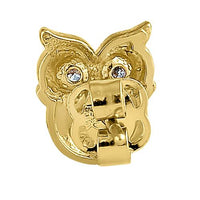 Solid 14K Yellow Gold Cute Owl Clear Round CZ Earrings
