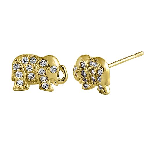 Solid 14K Yellow Gold Glitzy Elephant Clear Round CZ Earrings