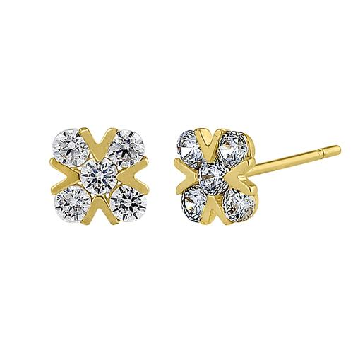 Solid 14K Yellow Gold X Shaped Clear Round CZ Earrings