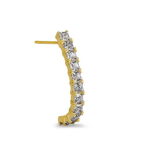 Solid 14K Yellow Gold Curved Line CZ Earrings