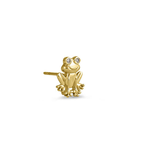 Solid 14K Yellow Gold Frog CZ Earrings