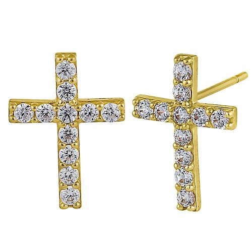 Solid 14K Yellow Gold Simple Cross Clear Round CZ Earrings