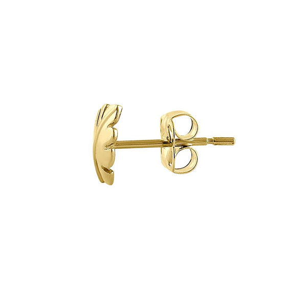 Solid 14K Yellow Gold Leaf Earrings